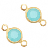 DQ European metal charms connector crystal glass round 6mm Gold-Canton Aqua Blue Opal