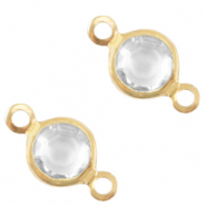 DQ European metal charms connector crystal glass round 6mm Gold-Crystal