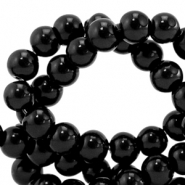 8 mm glass beads opaque Black