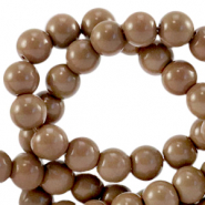 4 mm glass beads opaque Rocky Road Brown