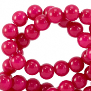 6 mm glass beads opaque Raspberry Pink