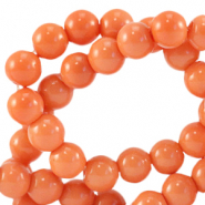 8 mm glass beads opaque Coral Nectarine Orange