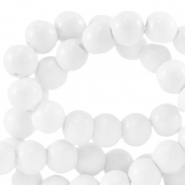 4 mm glass beads opaque Bright White