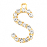 Metal rhinestone charms initial S Gold