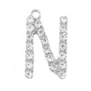 Metal rhinestone charms initial N Antique Silver