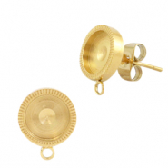 Polaris Steel earrings with setting for 7mm cabochon (with loop) Gold