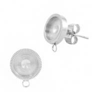 Polaris Steel earrings with setting for 7mm cabochon (with loop) Silver