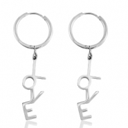 "Stainless steel earrings ""love"" Silver"