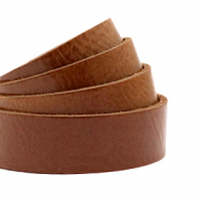 DQ European leather flat 20 mm Cognac Brown