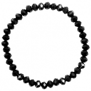 Top faceted bracelets 6x4mm Jet Black-Pearl Shine Coating
