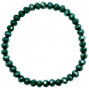 Top faceted bracelets 6x4mm Dark Eden Green-Pearl Shine Coating