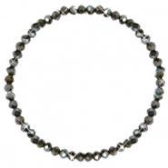 Top faceted bracelets 4x3mm Dark Olive Green-Pearl Shine Coating