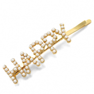 "Hair accessories bobby pin pearls ""HAPPY"" Off White-Gold"