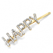 "Hair accessories bobby pin rhinestone ""HAPPY"" Crystal-Gold"