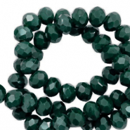 Top faceted beads 4x3mm disc Deep Green-High Shine Coating