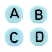 Acrylic letter beads mix Aqua blue