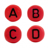 Acrylic letter beads mix Red