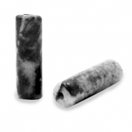 Natural stone beads tubes Black Anthracite