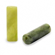 Natural stone beads tubes Light Olive Green