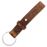 Cuoio keychain 15mm croco Colonial Brown-Gold