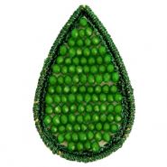 Crochet pendants with faceted beads drop Eden green
