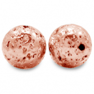 Hematite beads lava look Rose Gold
