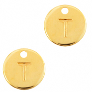 DQ European metal charms initial T Gold (nickel free)