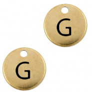 DQ European metal charms initial G Antique Bronze (nickel free)
