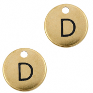 DQ European metal charms initial D Antique Bronze (nickel free)