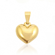 Stainless steel charms heart rounded Gold