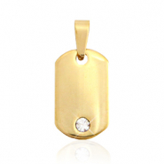 Stainless steel charms rectangle with stone Gold