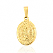 "Stainless steel charms oval ""Mother of Guadeloupe"" Gold"