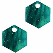 Resin pendants hexagon Ocean Green