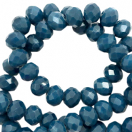 Top faceted beads 8x6mm disc Deep Teal Blue-Pearl Shine Coating
