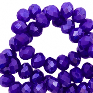 Top faceted beads 6x4mm disc Royal Blue-Pearl Shine Coating