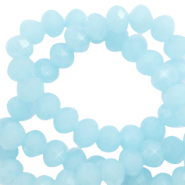 Top faceted beads 6x4mm disc Icy Blue-Pearl Shine Coating