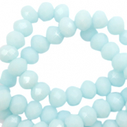 Top faceted beads 8x6mm disc Bleached Aqua Blue-High Shine Coating