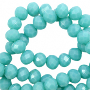 Top faceted beads 8x6mm disc Tiffany Blue-Pearl Shine Coating