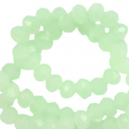 Top faceted beads 6x4mm disc Green Ash-Pearl Shine Coating