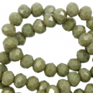 Top faceted beads 4x3mm disc Dusty Olive Green-Pearl Shine Coating