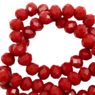 Top faceted beads 6x4mm disc Maroon Red-Pearl Shine Coating