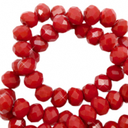 Top faceted beads 4x3mm disc Maroon Red-Pearl Shine Coating