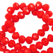 Top faceted beads 8x6mm disc Flame Red-Pearl Shine Coating