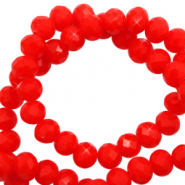 Top faceted beads 3x2mm disc Flame Red-Pearl Shine Coating