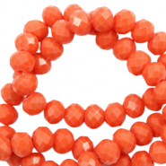 Top faceted beads 4x3mm disc Tangerine Tango Red-Pearl Shine Coating