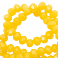 Top faceted beads 6x4mm disc Sunshine Yellow-Pearl Shine Coating