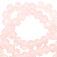 Top faceted beads 6x4mm disc Crystal Coral Pink-Pearl Shine Coating