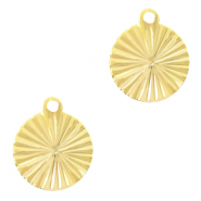 Brass TQ metal charms round 10mm Gold