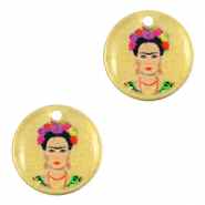 DQ European metal charms 15mm Frida Kahlo Antique Bronze (nickel free)