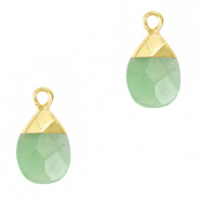 Natural stone charms Ocean Green-Gold